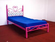 Pat cu tapiterie Single 90x190 cm PINK Princess culoare Roz
