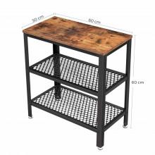 Masa laterala cafea Rustic Brown 2 polite, 60 x 30 x 60 cm (L x l x H)