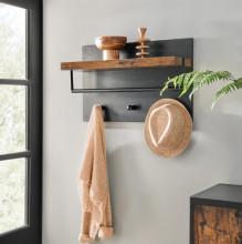 Cuier perete cu etajera Stil Industrial Black