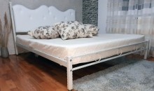 Pat dormitor tapitat Alb FUNGO  tapitat piele ecologica, 140x200 cm