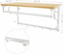 Cuier perete cu etajera Industrial Design Alb 60 x 30 x 32 cm (L x l x l)