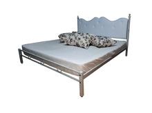 Pat dormitor tapitat Alb  Fungo, Fier forjat tapitat piele ecologica, 180x200 cm
