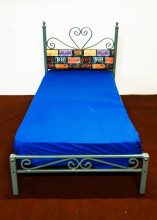 Pat cu tapiterie Single 90x190 cm VEXMAN Albastru