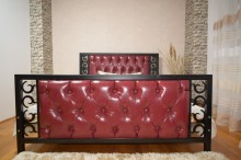 Pat matrimonial Bourbon, tapiterie piele ecologica 180x200 cm