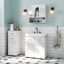 Dulap pentru baie cu ușă dublă și raft reglabil pentru lavoar