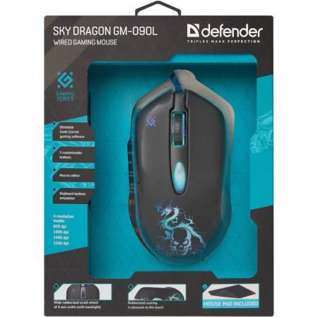 Slika Miš USB Defender Sky Dragon GM-090L Optički 3200dpi Gaming + Podloga, Crna