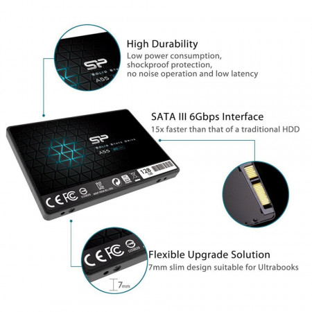 Slika SSD SATA3 128GB 3D NAND SiliconPower A55 550/420Mbs, SP128GBSS3A55S25