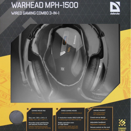 Slika Gaming combo Defender Warhead MPH-1500 black, mouse+headset+pad