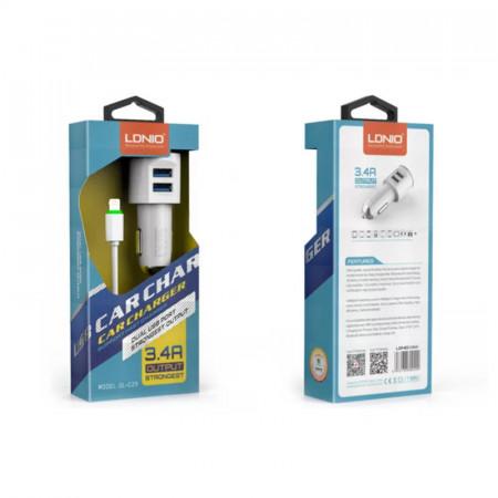 Auto punjac LDNIO DL-C29 dual USB 3.4A sa iPhone 6/6S kablom beli