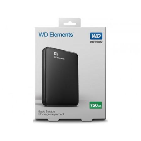 """HDD External 750GB WD Elements WDBUZG7500ABK-EESN, USB 3.0, 2.5"""", black"""