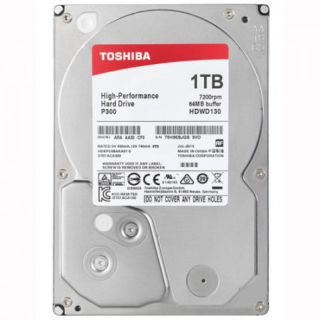 "TOSHIBA 1TB 3.5"", SATA III, 64MB, 7200rpm, P300 serija - HDWD110UZSVA"