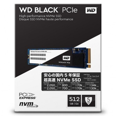 Slika WD SSD Black 512GB, M.2 2280, PCIe Gen3x4 - WDS512G1X0C M.2 2280, PCI-e, 512GB, do 2050 MB/s