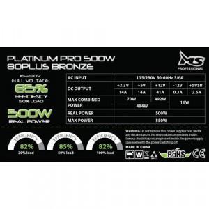 MS INDUSTRIAL napajanje PLATINUM PRO 80PLUS BRONZE 500W, Semi-Modularno, ATX (PS2) , do 85% efikasnosti