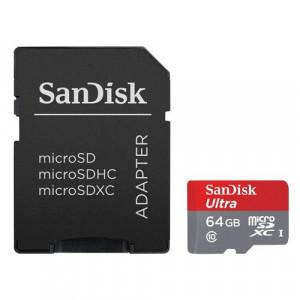 SANDISK Ultra microSDXC 64GB UHS-I + SD adapter - SDSQUNC-064G-GN6MA microSD, 64GB, UHS U1
