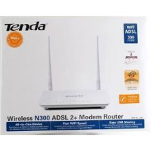 Tenda D301 Modem ADSL 2+ Router Wi-Fi N300 with USB 2.0