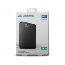 "HDD External 750GB WD Elements WDBUZG7500ABK-EESN, USB 3.0, 2.5"", black"