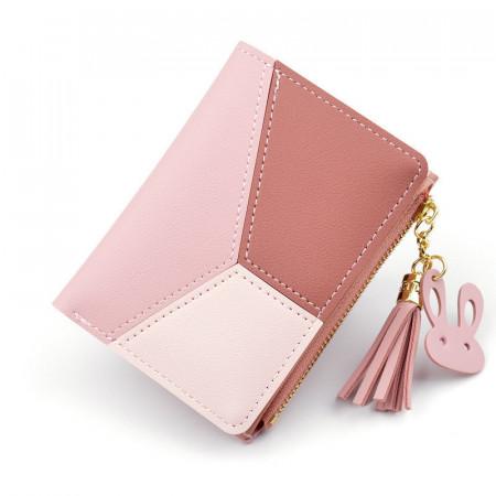 Portofel de dama, PTL007-V1, compartimentare multipla, model roz
