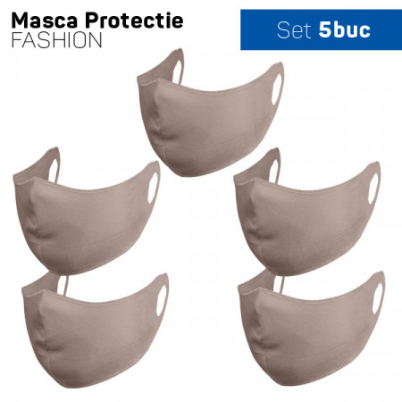Set 5 buc Masca protectie pentru fata Fashion, Culoare Bej