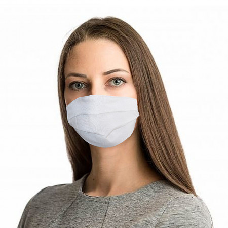 Set 5 bucati, Masca protectie 3 pliuri, 2 straturi, pentru fata, 100% bumbac, culoare alba, fabricat in Romania