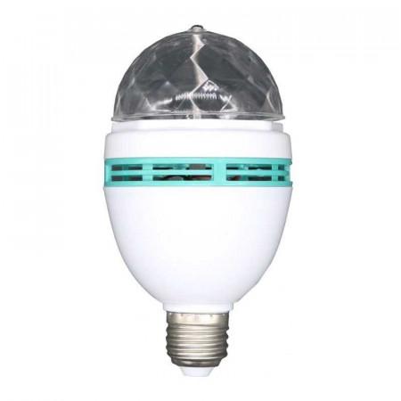 Bec rotativ proiector multicolor LED RGB 3W E27