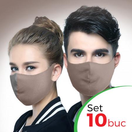 Set 10 buc Masca protectie pentru fata Fashion, Culoare Bej