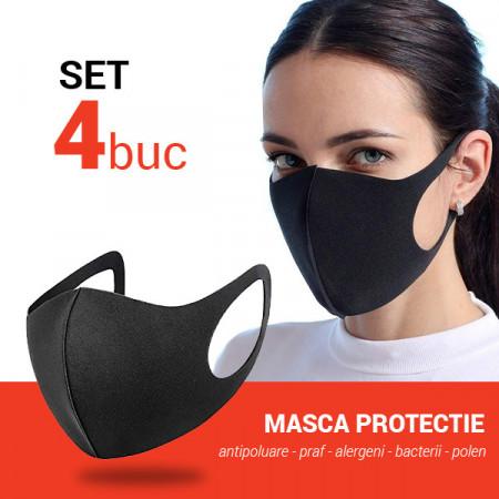 Set 4 buc Masca protectie pentru fata Fashion, negru