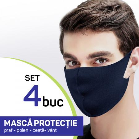 Set 4 buc Masca protectie pentru fata Fashion, culoare bluemarin
