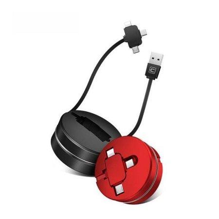 Cablu Retractabil 3 în 1 de Incarcare si Date Rosu Micro USB   USB-C   Apple Lightning