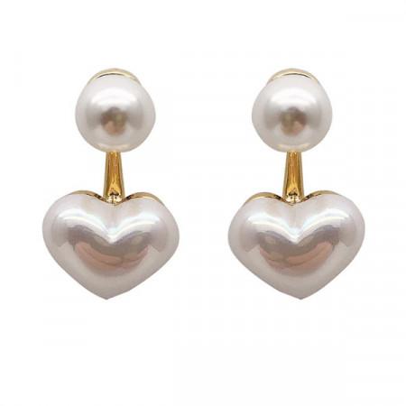 Cercei Dama, pearl heart - alb CD027