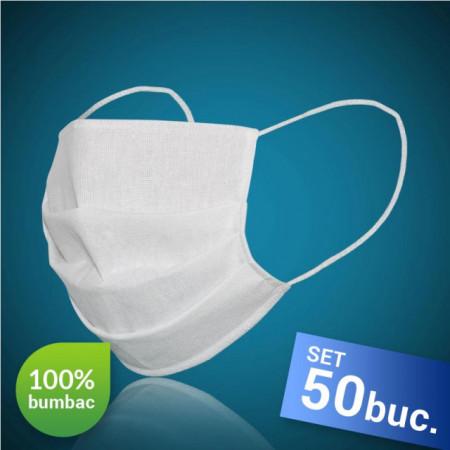 Set 50 bucati, Masca protectie pentru fata, 100% bumbac, culoare alba, fabricat in Romania