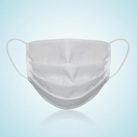 Set 5 bucati, Masca protectie pentru fata Reutilizabila, 100% bumbac, culoare alba, fabricat in Romania