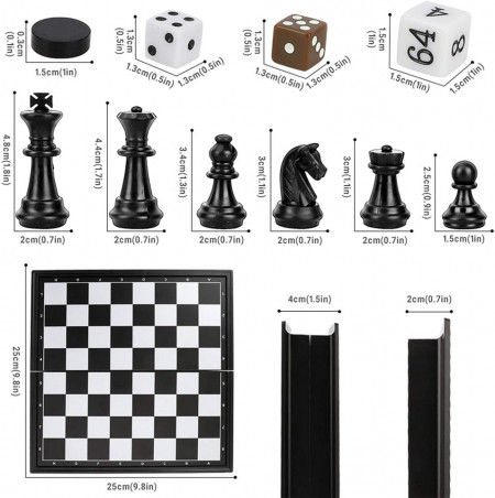 Joc 3 in 1 de sah, table si dame magnetic, 32 cm