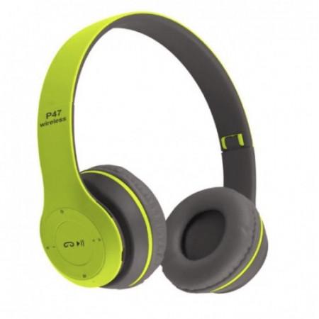 Casti wireless P47, Stereo Headphones, Fm Radio, MP3 Player, Microfon incorporat, Port Micro SD, Green