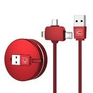 Cablu Retractabil 3 în 1 de Incarcare si Date Rosu Micro USB | USB-C | Apple Lightning