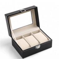 Cutie pentru 3 ceasuri din piele ecologica