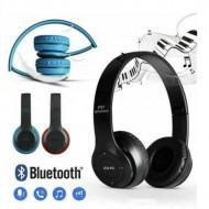 Casti wireless P47, Stereo Headphones, Fm Radio, MP3 Player, Microfon incorporat, Port Micro SD, Negru