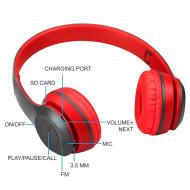Casti wireless P47, Stereo Headphones, Fm Radio, MP3 Player, Microfon incorporat, Port Micro SD, Negru/ Rosu