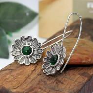 Cercei Dama, green flower - argintiu CD036