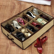 Organizator pantofi , 12 compartimente, crem/maro