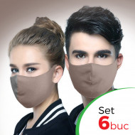 Set 6 buc Masca protectie pentru fata Fashion, Culoare Bej