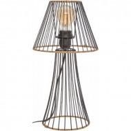 Lampa din metal si ratan, 38.5 cm, negru, PM1682143