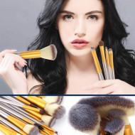 Set 18 pensule, machiaj profesional, husa piele ecologica