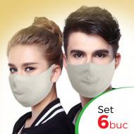 Set 6 buc Masca protectie pentru fata Fashion, Culoare Crem