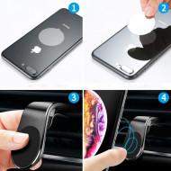 Suport auto universal magnetic pentru telefoane - Vent Black