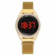 Ceas Dama Fashion Touch Screen Digital, Curea Magnetica, Swarovski elements, Auriu, LD090-V2