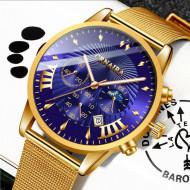 Ceas fashion barbatesc Crnaira-1, Quartz, Analog, Auriu Albastru