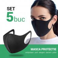 Set 5 buc Masca protectie pentru fata Fashion, negru
