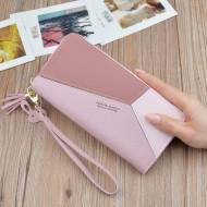 Portofel de dama, PTL008-V2, forme geometrice, varianta mare, buzunar pentru telefon, compartimentare multipla, model roz
