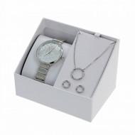 Accesorii Set Cadou - Ceas, Colier si Cercei - EXCELANC Culoare Silver EXC005-V1
