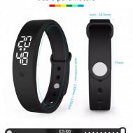 Ceas Sport Smart Led cu Monitorizare Temperatura Corp, Alarma, Cronometru, Data - Albastru